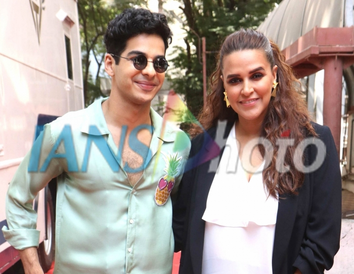 Actress-host Neha Dhupia with actor Ishaan Khattar on the sets of her show Vogue BFFs Season 3 in Mumbai, on April 11, 2019. (Photo: IANS)