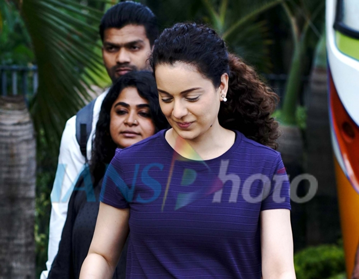 Actress Kangana Ranaut during the shooting for her upcoming film in Kolkata on April 12, 2019. (Photo: IANS)