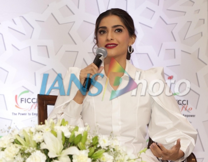 Actress Sonam Kapoor addresses at the 35th Annual Session of FICCI Ladies Organisation (FLO) in New Delhi, on April 13, 2019. (Photo: Amlan Paliwal/IANS)