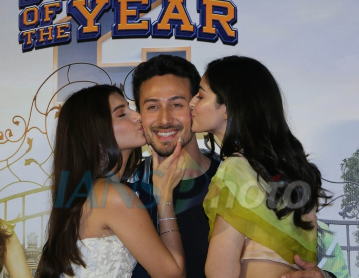 Actors Tara Sutaria, Tiger Shroff and Ananya Pandey at the trailer launch of their upcoming film Student of the Year 2 in Mumbai, on April 12, 2019. (Photo: IANS)